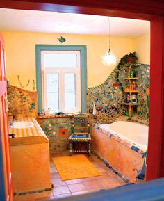 Villa Kunterbunt: The bright world of Bine Brändle - old house - house ideas, that's how we want to build - - Interior Bohemio, Bohemian Bathroom, Decorating Bookshelves, Mosaic Bathroom, Toilet Design, Earthship, Design Case, Bathroom Interior Design, Cool Rooms