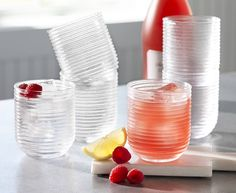 IWA Exclusive! Contemporary and versatile, these mouth-blown tumblers are made from lead-free glass with artistic ridges for special occasions, and dishwasher safe for everyday use. Set of 6.
