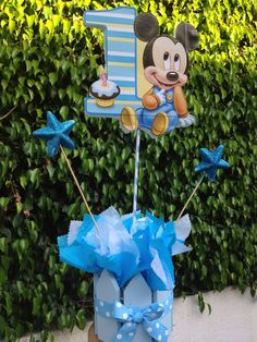 Baby Mickey Mouse Centerpiece for 1st Birthday. $18.00, via Etsy.