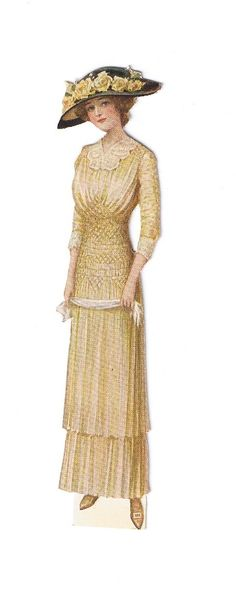 vintage lady fashion 1912. woman wearing a light yellow dress with lace, black hat with yellow roses