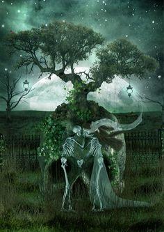 Skull and tree only - Lycan Anubis Armando Dark arts for our inner demons Skeleton Love, Skeleton Art, Skull Pictures, Art Pictures, Halloween Pictures, Halloween Art, Halloween Trees, Art Of Dan, Skull Artwork