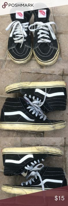 VANS Hi-Cab Skate Shoes VANS hi top skate shoes in black. Used. Structurally sound. Still have lots of life for many more grinds and halfpipes to skate !!!!!! 🏂🏄🏼🏄🏼♀️ Vans Shoes Athletic Shoes