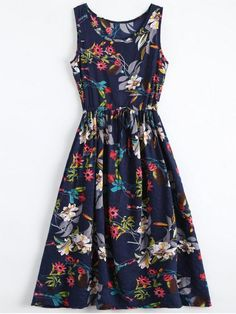Floral Drawstring Sleevelss Midi Dress - FLORAL M Sun sun dresses plus size sun dresses with sleeves sundress outfits sundresses dresses sundresses for weddings dresses sundresses Wedding Invitations Trends 2019 Pretty Outfits, Pretty Dresses, Cute Outfits, Casual Dresses, Summer Dresses, Midi Dresses, Sleeve Dresses, Prom Dresses, Wedding Dresses