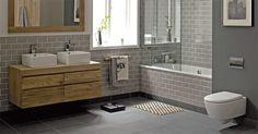 for downstairs bathroom: Fired Earth - Retro Metro Tiles. Upstairs Bathrooms, Downstairs Bathroom, Grey Bathrooms, Beautiful Bathrooms, Taupe Bathroom, Tiled Bathrooms, Bathroom Mirrors, Master Bathroom, Family Bathroom