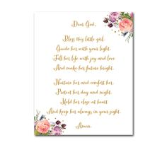 Baby Nursery Sign 8x10 - White Glitter Watercolor Floral Flowers - Dear God Bless This Little Girl Prayer - Instant Download Printable