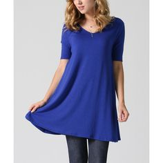 42POPS Royal Blue Boatneck Tunic ($9.79) ❤ liked on Polyvore featuring tops, tunics, boatneck top, boat neckline tops, royal blue top, boatneck tunic and blue tunic