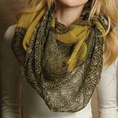 Medallion Design Scarf Assorted 3 Colors © Twos Company