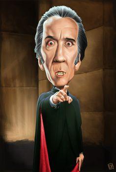 Chirstopher Lee as Dracula (digital caricature) by IvandelRio