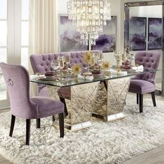 What the In-Crowd Won't Tell You About Contemporary Dining Room Ideas to Inspire You Chairs could possibly be rated by the duration of time they might. Dining Room Table Decor, Elegant Dining Room, Luxury Dining Room, Dining Room Sets, Dining Room Design, Dining Room Furniture, Living Room Decor, Purple Dining Chairs, Room Chairs