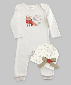 Loving this Ivory 'Joy to the World' Romper & Beanie - Infant on #zulily! #zulilyfinds