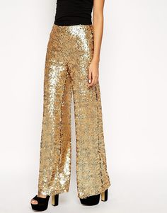 ASOS Premium Wide Leg Trouser In Sequin