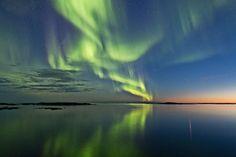Auroras and Sunset