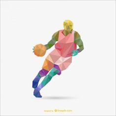 Polygon origami basketball vector
