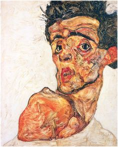 Egon Schiele, self-portrait. I bought this as a print after seeing the Portraits in Vienna exhibition at the Tate Britain
