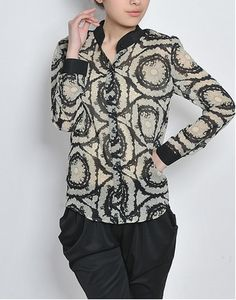 Swirls Abstract Chiffon Shirt via vintagehordes. Click on the image to see more!