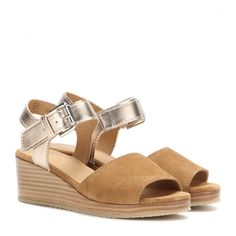 A.P.C. - Joanna suede and metallic leather wedge sandals - Let A.P.C.'s 'Joanna' wedge sandals put a spring in your step as the summer season rolls around. We love the mix of suede and metallic leather. Style with printed dresses for lunch dates. seen @ www.mytheresa.com