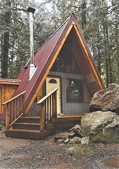 Planning To Build A Shed? Now You Can Build ANY Shed In A Weekend Even If You've Zero Woodworking Experience! Start building amazing sheds the easier way with a collection of shed plans! A Frame Cabin, A Frame House, Cabins In The Woods, House In The Woods, Roof Design, House Design, Tiny Cabins, Building A Shed, Cabin Homes