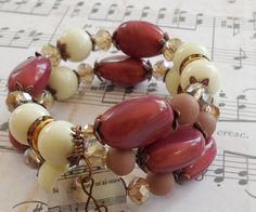 Brown and tan memory wire bracelet by HighStrungDiva on Etsy, $15.00    #memorywire #memory wire