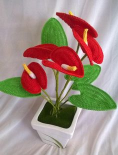 PDF Crochet anthurium Pattern - Flower Applique - Crochet F Crochet Bouquet, Crochet Puff Flower, Crochet Flower Tutorial, Crochet Flower Patterns, Flower Applique, Crochet Flowers, Pattern Flower, Crochet Hood, Wire Crochet