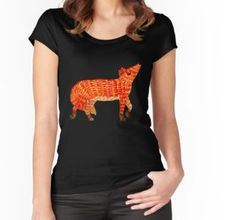 Adorable Fox Fitted Scoop T-Shirt Watercolor Fox, Wearable Art, Hoodies, T Shirt, Tops, Dresses, Women, Fashion, Gowns