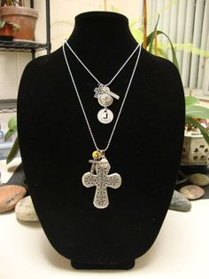 """Finished pieces in my """"Glory"""" line. They are both on 20 inch chains but can easily be shortened to fit your desired length."""