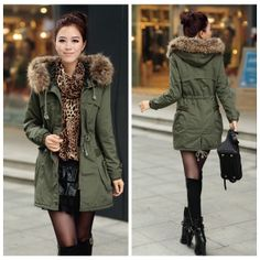 Women's big fur hooded parka fleece lined coat Condition: New ...