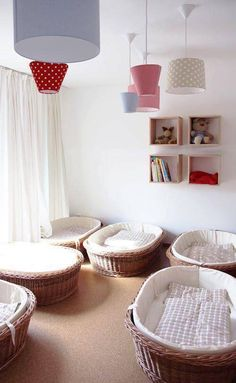 Beautiful Napping quiet space with low baskets for beds to encourage babies and young children to independently seek rest and relaxation. Unknown source