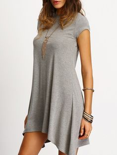 Shop Grey Asymmetric Hem Casual Shift Dress online. SheIn offers Grey Asymmetric Hem Casual Shift Dress & more to fit your fashionable needs.