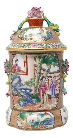 Vintage Rose Medallion Lidded Clover-Shaped Jar on Chairish.com
