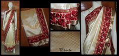 Off white semi Raw Silk saree with heavy embroidered borders.
