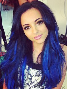"Little Mixer Jade Thirlwall has added electric blue to the ends of her inky mane. Using Using Schwarzkopf LIVE Colour XXL, the mini Cheryl (just us?) added a kaleidoscopic twist to her glamorous hairstyle, tweeting: ""Just dyed me hair 'electric blue' with Live Color XXL Ultra Brights and I absolutely LOOOVVVEEE it!!! :)""   - Cosmopolitan.co.uk"