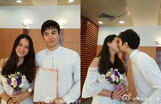 Taiwanese actor Rhydian Vaughan marries his non-celebrity girlfriend, Hung Che-chun, in a small wedding ceremony on June 30, 2016. The couple have one child together.