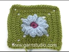 How to crochet the square for the daisy in the DROPS Mystery Blanket - YouTube
