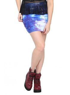 Blue Galaxy Skirt ......... we got these for $8 at our local Hot Topic, and NO WAY would I let my 12 year old wear this without leggings