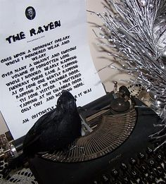 LOVE the old typewriter and Edgar Allan Poe 'The Raven' poem!
