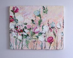 Items similar to Abstract Oil Painting Flower Original Abstract Art Canvas Pink Blue Beige Impasto Bedroom Canvas Wall Art Vertical Floral Large Living Room on Etsy Texture Painting On Canvas, Flower Painting Canvas, Oil Painting Flowers, Abstract Flowers, Canvas Art, Abstract Oil, Abstract Paintings, Art Paintings, Painting Art