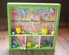 Happy Easter Happy Spring Square Shadowbox Home by PaperDahlsLLC (Home & Living, Home Décor, Decorative Trays, Easter, spring, shadowbox, bunny, Easter eggs, flowers, dragonfly, Sunday Best, Paper Dahls, butterfly, pastel, happy, chenille chicks)