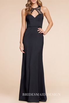 977303dd84ad Vintage inspired black satin mermaid long bridesmaid dress with lace  straps. Sweetheart bodice with lace