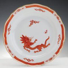 A Red Dragon Meissen Porcelain Plate, Post 1980 Blue Crossed Swords Mark 22 Cm Diameter