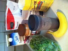 Green milk makin smoothie. Great for post-workout snack and nursing moms.  1 c rough chopped kale - 1 banana - handful frozen blueberries (1/4 c?) - 1/2 Tbsp peanut butter - 1 tsp ground flaxseed - 1/2 tsp Brewer's yeast.  Put all ingredients in single size blender cup in order listed. Fill cup with dark chocolate almond milk (1-1-2 c?). Blend and enjoy! Flax and brewers yeast boost milk production for nursing moms.