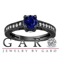 0.71 Carat Blue Sapphire Engagement Ring, With Diamonds Wedding Ring 14K Black Gold Unique Vintage Style Pave Handmade Certified
