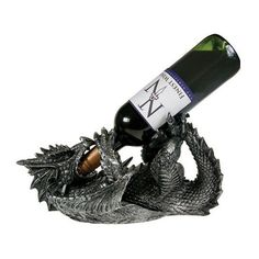 Mythical Dragon Wine Bottle Holder Statue in Medieval & Fantasy Bar or Kitchen Table Decor Sculptures and Decorative Gothic Racks and Stands As Gifts for Wine Lovers Dragon Statue, Dragon Art, New Rock Boots, Mythical Dragons, Wine Bottle Holders, Gifts For Wine Lovers, Kitchen Witch, Medieval Fantasy, Rhubarb Juice