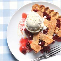 You've never had a cherry pie this good—an incredible sour cherry filling, a light and flaky crust, and vanilla ice cream to top it all off. If you can't find sour cherries, use sweet cherries and a little extra lemon juice instead. Sour Cherry Pie, Cherry Salsa, Cherry Tart, Cherry Recipes, Pie Recipes, Sweet Recipes, Dessert Recipes, Delicious Desserts, Frozen Cherries