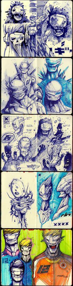 Sketches 2011-2013 by Artem Solop Kiev, Ukraine on Behance  | Character Design | Drawing |  Illustration | Drawing | Draw | Sketch | Doodle | Ilustração | Robots |