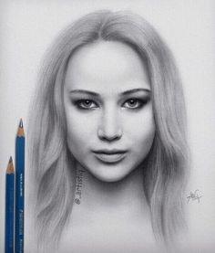 amazing drawing of Jennifer Lawrence