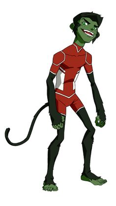 BEAST BOY-At age Beast Boy is the youngest member of the Team. He shares a close bond with Miss Martian. They treat each other as brother and sister. Power: Transforms into Animals Young Justice Characters, Dc Characters, Teen Titans, Beast Boy Young Justice, Young Justice Invasion, Dc Comics, Miss Martian, Robin, Superhero Design