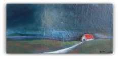 Barn in the Night - original oil painting - landscape painting - impressionist…