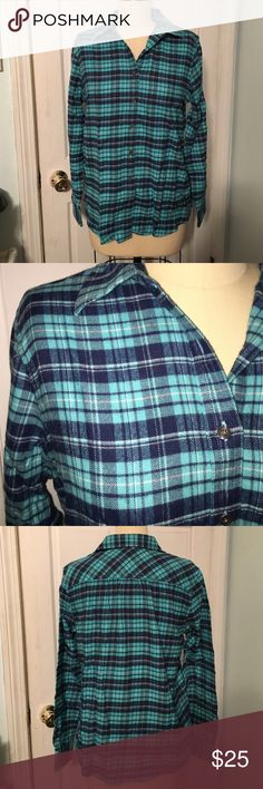 Lands End plaid flannel shirt size S This flannel shirt from Lands End is a size S. Fabric is 100% cotton. New without tags. Lands' End Tops Button Down Shirts