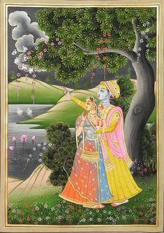 Radha Krishna Gazing at the Cloud - Miniature Paintings (Miniature Painting on Silk Cloth - Unframed) Mughal Paintings, Indian Art Paintings, Madhubani Painting, Lord Ganesha Paintings, Krishna Painting, India Painting, Fabric Painting, Señor Krishna, Lord Krishna