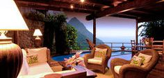 Amazing Hotels You Need to See To Believe - Ladera Resort, St. Lucia This amazing luxury resort comprises 32 uniquely designed villas. The stunning view from the bedroom villa will certainly leave you spell-bound. St Lucia Resorts, St Lucia Hotels, Hotels And Resorts, Best Hotels, Luxury Hotels, Ladera St Lucia, Ladera Resort St Lucia, Need A Vacation, Dream Vacations